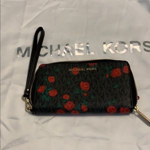 Michael Kors Black with Roses Wristlet